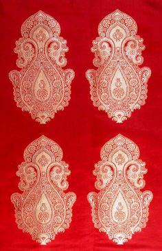 Fabric Patterns Banarasi Brocade - Details for Red Banarasi Hand-woven Brocade Fabric with Auspicious Motif which belongs to the Fabrics category in our Textiles collection: Pure Satin Silk Banarsi Saree, Handloom Saree, Brocade Saree, Silk Sarees, Indian Fabric, Indian Textiles, Fabric Patterns, Print Patterns, Paisley