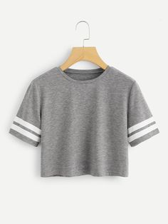 Varsity Striped Crop TeeFor Women-romwe - Bestie Shirts - Ideas of Bestie Shirts. - Varsity Striped Crop TeeFor Women-romwe – Bestie Shirts – Ideas of Bestie Shirts – Varsity Striped Crop TeeFor Women-romwe Source by Bestie_Hub - Teenage Girl Outfits, Teen Fashion Outfits, Teenager Outfits, Outfits For Teens, Cute Comfy Outfits, Pretty Outfits, Stylish Outfits, Belly Shirts, Vetement Fashion