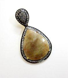 Faceted Wonder Sapphire + WhiteTopaz 925 Sterling Silver Pendent US - 908 #SilvestoIndia #Pendant