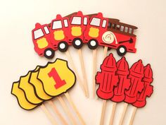 ***Important***During Checkout: Leave the PARTY DATE in the Notes box*** 12 Cupcake toppers match my Firetruck Birthday Banners. Set includes: 4 - Firetrucks with lots of detailing 4 - Fire Hydrants 4 - Firemans Shields with birthday number (Choose the number from the drop down