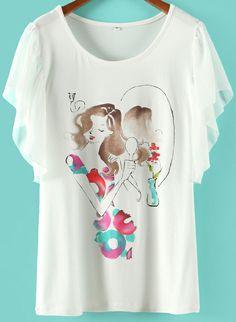 White Ruffle Sleeve Girl Print T-shirt US$18.02