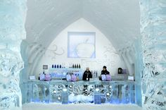 Hôtel de Glace ice bar, serving drinks in carved blocks of ice // Quebec City, Canada
