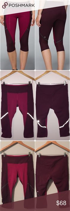Lululemon hop to it crop Lululemon hop to it crop in Bordeaux drama/bumble berry, size 6, perfect condition with no flaws, second picture is with the flash on to show reflective detailing. Bundle to save ❤️ lululemon athletica Pants Ankle & Cropped