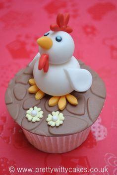 Cute chicken character cupcake!