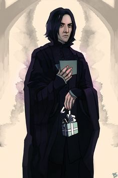 """suffer-my-displeasure: """" """"Happy birthday professor! -Luna L."""" Snape, fighting to keep an intimidating poker face right after Luna hands him his gift in the corridor and then immediately slips away. Last minute submission for @happy-snape-week """""""