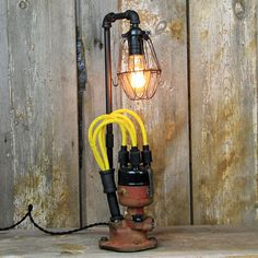 Farm Tractor Steampunk Table Lamp  Industrial Lamp with
