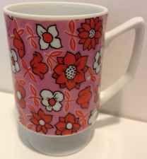Vintage Floral Mood By Kitty Pedestal Mug Pink Orange Red Coffee Cup Retro Great Valentines Day Gifts, Porcelain Dinnerware, Orange Red, Pedestal, Vintage Floral, Coffee Cups, Kitty, Mood, Retro