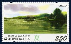 Han River, summer, Landscape, Green, grass green, 2010 05 11, 한국의 강 시리즈(네 번째 묶음), 2010년 5월 11일, 2743, 한강(하), postage 우표