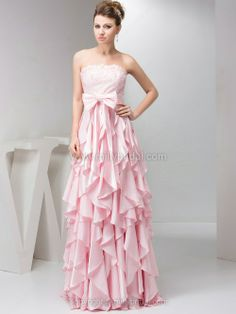 A-line Strapless Elastic Woven Satin Floor-length Lace Prom Dresses
