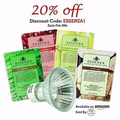 """Looking to stock up on electric warmer #waxcubes or bulbs? Check out our halogen bulbs and fragrant Essenza cubes in Wild Fern, Pomegranate Bergamot, Fresh Pear and Vanilla Sugar, now available for purchase on #Amazon! Better yet, now through February 29th, get 20% off of your order through Amazon using the #promocode """"Essenza1"""" at check out. *Our wax cubes are made for our Essenza, Sedona and Morgan Childs #electricwarmers but also work well with other brands. *Offer only good on items purc..."""