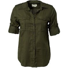 Denim & Supply Ralph Lauren Rl Expedition Shirt (83 CAD) ❤ liked on Polyvore featuring tops, blouses, shirts, blusas, olive, blouses & shirts, womens-fashion, sleeve shirt, cotton button shirt and green shirt