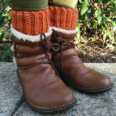 crochet yourself some boot cuffs!!  I made these in a teal color and I love them.  They worked up really fast and they're useful!