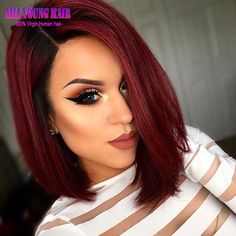 109.00$  Watch now - http://alid8b.worldwells.pw/go.php?t=32721356128 - Straight Hair T1B/Burgundy Ombre Short Bob Full Lace Human Hair Wigs Glueless Lace Front Wigs Right Opening U Part Wig for Women