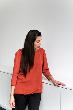 jessica comingore x @jillaikoyee: the essential blouse in madder. natural dye by graham keegan.
