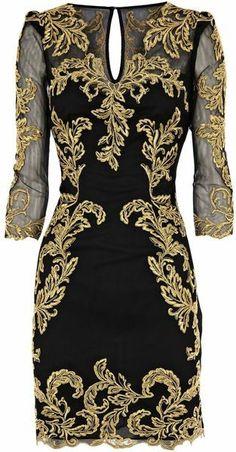 Karen Millen Black Baroque Mesh Dress at House of Fraser
