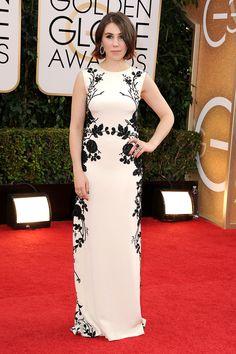 Golden Globes Red Carpet 2014 Zosia Mamet in Reem Acra--a great silhouette.  I'm becoming a Reem Acra fan.