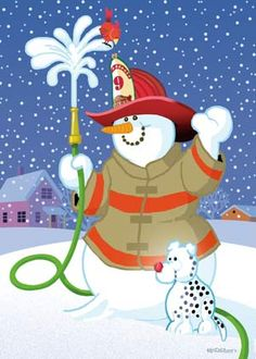 Inexpensive personalized Firefighter Snowman Holiday Card