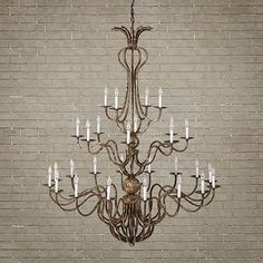 with the ornate detailing and impressive scale of eighteenth century fixtures, our 28 light grand chandelier dazzles in a modern home. the swooping cu