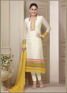 Kareena Kapoor OffWhite Yellow Georgette Salwar Kameez