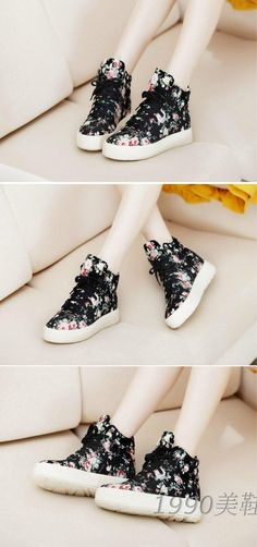Free shipping new spring shoes vivi floral canvas shoes Korean version of Japanese Harajuku platform shoes platform shoes tide - Taobao