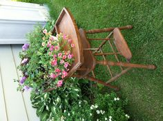 Repurposed high chair for the garden!