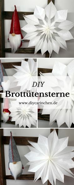 DIY gift idea for Christmas, make Christmas stars from bread bags - Weihnachten - Diy Felt Christmas Tree, Christmas Poinsettia, Christmas Makes, Christmas Time, Christmas Stars, Snowman Crafts, Christmas Crafts, Christmas Decorations, Advent Calendar Gifts