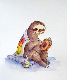 Cozy Sloth - KATIE CRUMPTON.  Buy print here: http://www.redbubble.com/people/katiecrumpton/works/13086922-cozy-sloth