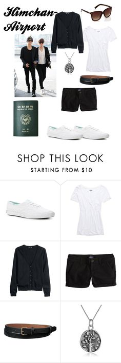 """Himchan~ Airport Fashion"" by c00kie17 ❤ liked on Polyvore featuring Keds, Aerie, H&M, American Eagle Outfitters, Uniqlo, Passport and Warehouse"