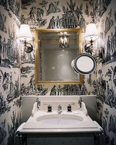 toile wallpaper--possibly in plum or lavender for the half bath downstairs?