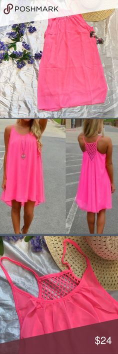 NEW Hot Pink Chiffon Sun Dress Fun Flirty NEW in package Hot Pink Chiffon Sun Dress Fun Flirty.  Medium bust measures 20.5 inches laying flat not doubled and is 36.5 inches long. Large bust measures 21 inches laying flat not doubled and is 38 inches long. Sheer and fully lined with unique back Dresses Mini