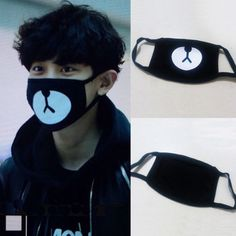 New-Arrival-EXO-Chanyeol-Chan-yeol-Same-Style-Lucky-Bear-Black-Mouth-Mask-Kpop