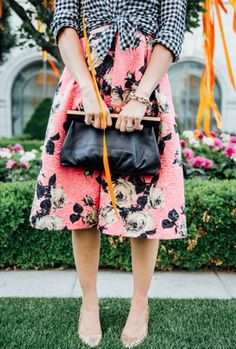 Dear Stitch Fix: gingham, floral skirt and glitter shoes. Yes! This outfit is so cute and flirty. I don't wear a lot of black, but I like these touches. Would it work better for day wear if the skirt was cotton? Don't own any of it an want it all xoxo
