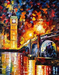London, the famous British canvas by Leonid Afremov is made in the best traditions of impressionism – you'll be amazed by the bright colors of the painting! Simple Oil Painting, Oil Painting Flowers, Oil Painting On Canvas, Canvas Art, London Painting, Pinturas Disney, Disney Paintings, Art Paintings, Living At Home