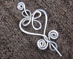 Celtic Heart and Swirls Shawl Pin / Scarf by nicholasandfelice