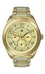 Tommy Hilfiger Gracie Multifunction Women's watch #1781214 Tommy Hilfiger. $175.00. Band color: gold plated; Condition:brand new with tags; Model: 1781214; Dial color: gold tone dial iconic flag logo; Brand:Tommy Hilfiger
