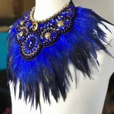 FREE SHIPPING One-off blue crystal feather neckpiece. Feather