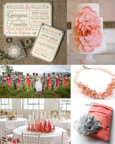 Pink Coral and Grey Wedding Colors Inspiration Board