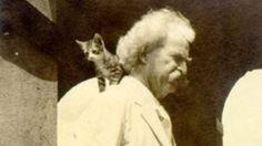 Mark Twain with a kitten