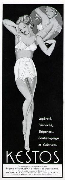"""Légèreté, simplicité, élégance...soutien-gorge et ceintures Kestos / Réclame parue dans """"Plaisir de France"""" d'octobre 1936"""