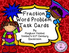 Super FREE resource!  Two of the biggest struggles my students face when it comes to math are fractions and word problems.  These task cards combine both of those skills in a fun, colorful way!