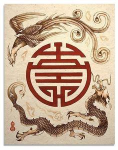 Dragon and Phoenix Shou Symbol Asian Art Print by TigerHouseArt, $14.00