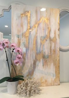 Large scale art canvas acrylic abstract painting ikat style iridescent, gold, white gold leaf with glass and resin coat x su Etsy Diy Wall Art, Diy Art, Large Canvas, Canvas Art, Gold Leaf Art, Large Scale Art, White Acrylic Paint, Oeuvre D'art, Painting Inspiration