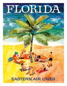 Florida - Eastern Air Lines - Sunbathers around Palm Tree - Giclée Art Prints & Posters