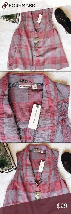 🎉HP🎉 Anthropologie Sleeveless Swing Top Anthropologie's Holding Horses brand. Brand new with tags! 99% cotton with a thin crepe feel. Pink and a very muted purple, with thin pink metallic stripes. Anthropologie Tops Button Down Shirts