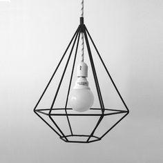 Lampara Diamante Home Decor Furniture, Industrial Furniture, Wood Lamps, Lamp Design, Home Lighting, Lamp Light, Diy Bedroom Decor, Lights, Almond