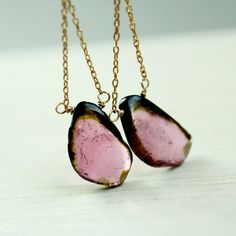 Tourmaline Earrings   Pink  Gold Filled  Slice  Gemstone by hildes, $48.00