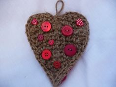 Hanging heart made from crocheted garden twine & random buttons