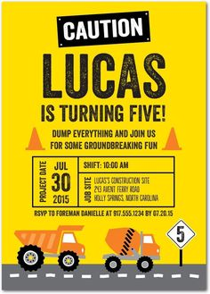 Pave the Way - Birthday Party Invitations in Lemon Construction Invitations, Construction Birthday Parties, Construction Party, Birthday Invitations Kids, Birthday Party Themes, Boy Birthday, Birthday Banners, Dump Truck Party, Unique Invitations