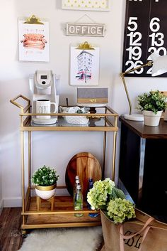 """Acquire terrific pointers on """"gold bar cart decor"""". They are on call for you on our site. Coffee Bar Design, Coffee Bar Home, Bar Cart Decor, Bar Cart Styling, Pub Decor, Coffee Carts, Coffee Club, Coffee Shops, Coffee Lovers"""
