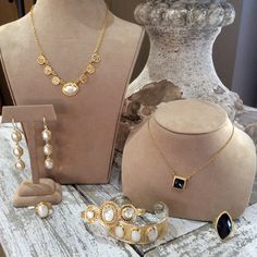 Anna Beck jewelry/Sarah Carolyn - new fall 2014 collection, using shell mother of pearl and hematite